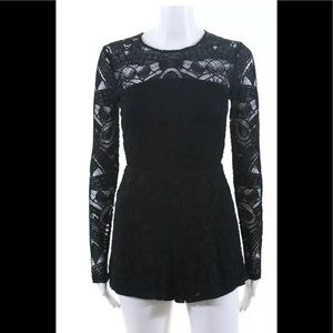 Alexis black xs lace long sleeve romper shorts